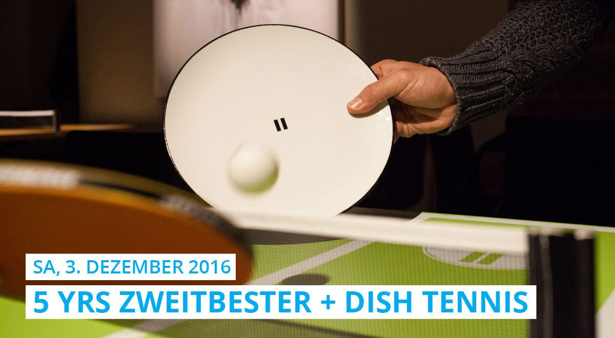 "At the ""Zweitbester"" birthday party it wasn't only played with table tennis bats but the name DISH TENNIS was honoured and the table was played with plates."