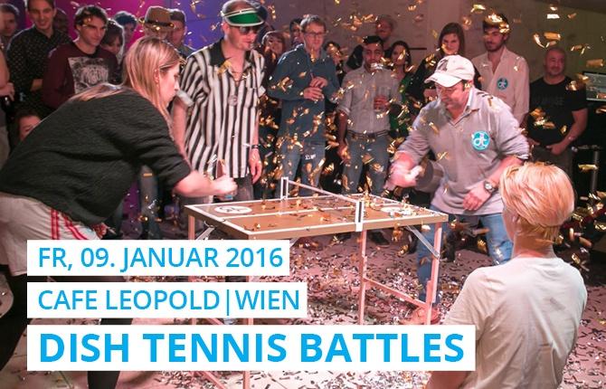 Im Wiener Club Cafe Leopold wurde im Keller ein Turnier mit viel Konfetti auf der bronzenen DISH TENNIS Mini Platte gespielt.