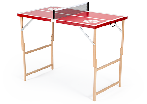 Rote Mini Tischtennisplatte mit weißen Linien